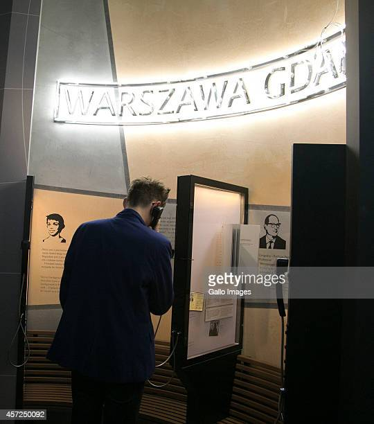 A Public phone at the Core Exhibition of Polin on October 10 2014 at Polin Museum of History in Warsaw Poland The museum looks at the History of...