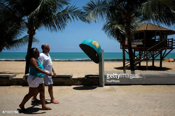 A public phone from the Brazilian telephone operator Oi SA is seen on Boa Viagem beach a postcard of the city of Recife in northeastern Brazil on...