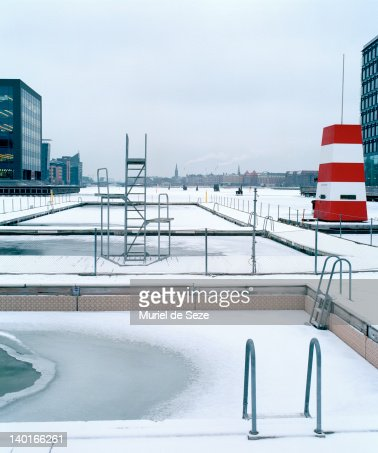 Public pool with snow : Stock Photo