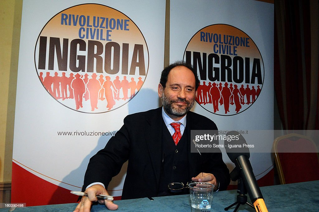 Public Prosecutor Antonio Ingroia Premier candidate with Rivoluzione Civile party in the forthcoming Italian Parliamentary elections in Febraury attends a meeting with his supporters at Hotel Europa on January 30, 2013 in Bologna, Italy.
