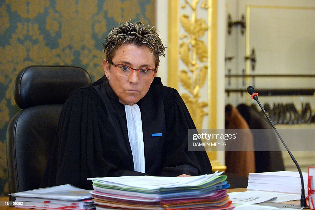 Public prosecutor Brigitte Ernoult Cabot sits, on October 14, 2013 at Rennes' courthouse, prior to the opening hearing of the pirates' trial for hijacking a yacht in 2009. French troops stormed the Tanit sailboat on April 10, 2009 and captured the trio in a bid to free Florent Lemacon, his wife, their three-year-old son and two others. Florent Lemacon died in the operation.