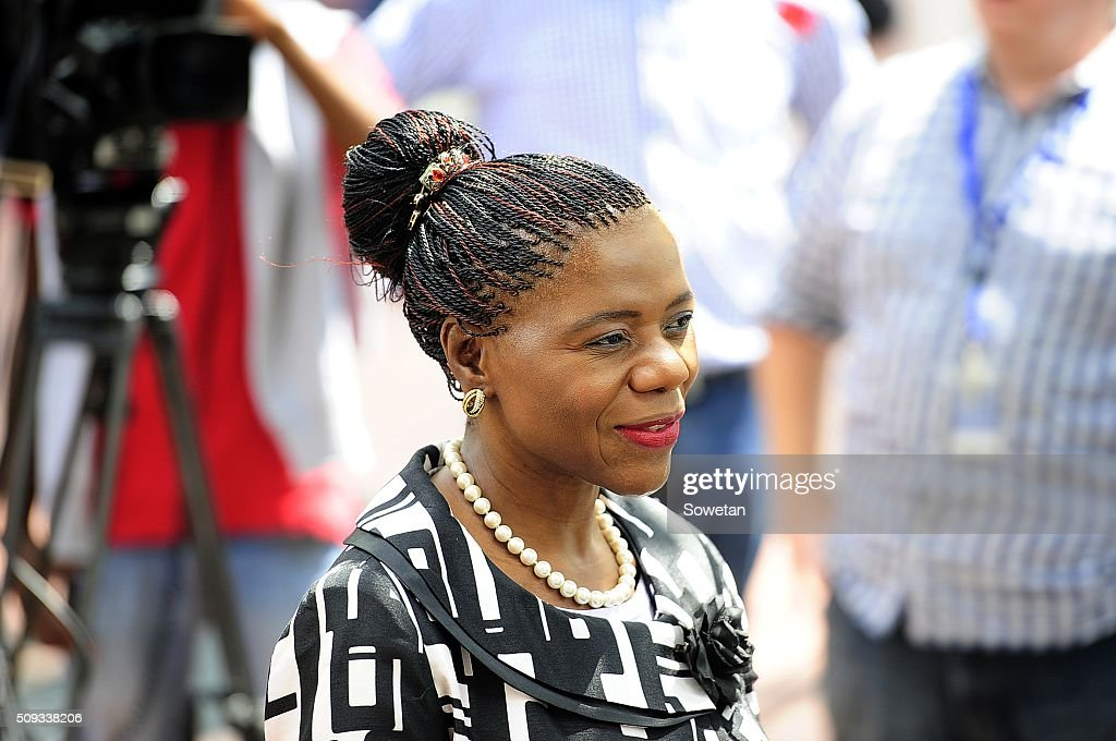 Public Protector Thuli Madonsela outside the Constitutional Court on February 9 2016 in Johannesburg South Africa Large numbers of EFF supporters...
