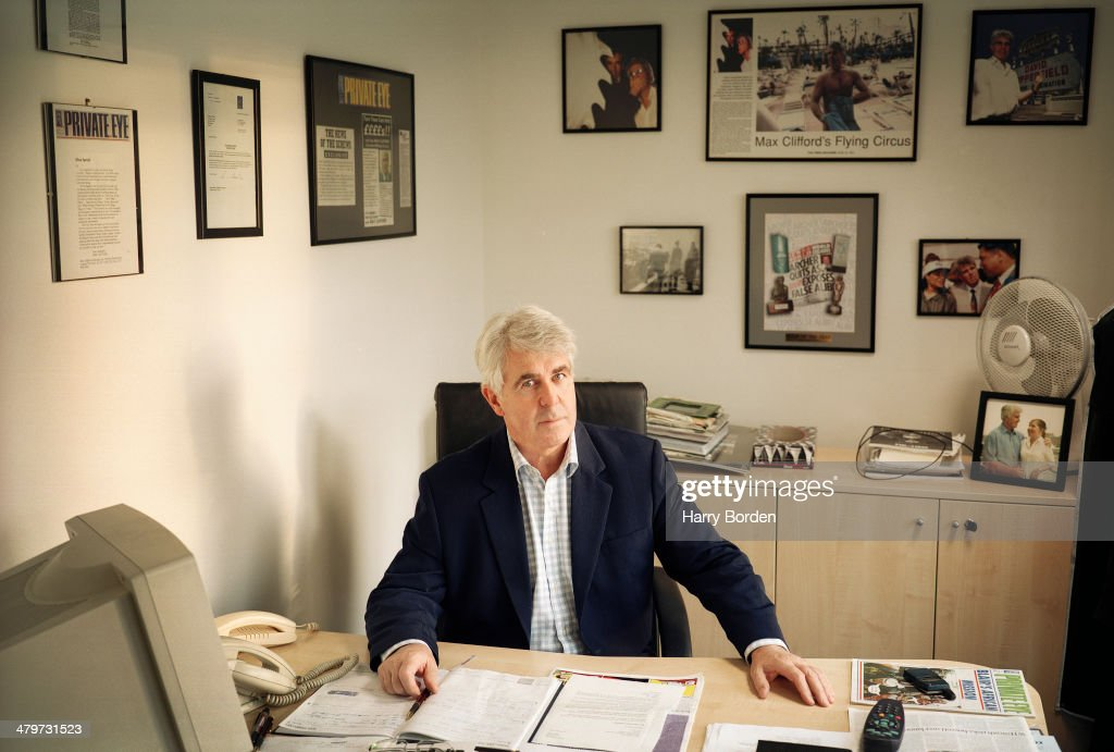 Public relations consultant <a gi-track='captionPersonalityLinkClicked' href=/galleries/search?phrase=Max+Clifford&family=editorial&specificpeople=753579 ng-click='$event.stopPropagation()'>Max Clifford</a> is photographed for the Radio Times on February 12, 2002 in Walton-on-Thames, England.