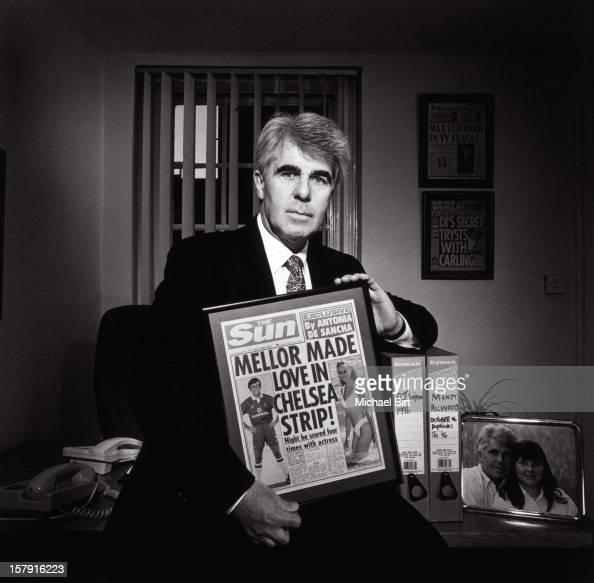 Public relations consultant Max Clifford is photographed on April 27 1998 in his London office England Clifford is currently attending a court trial...