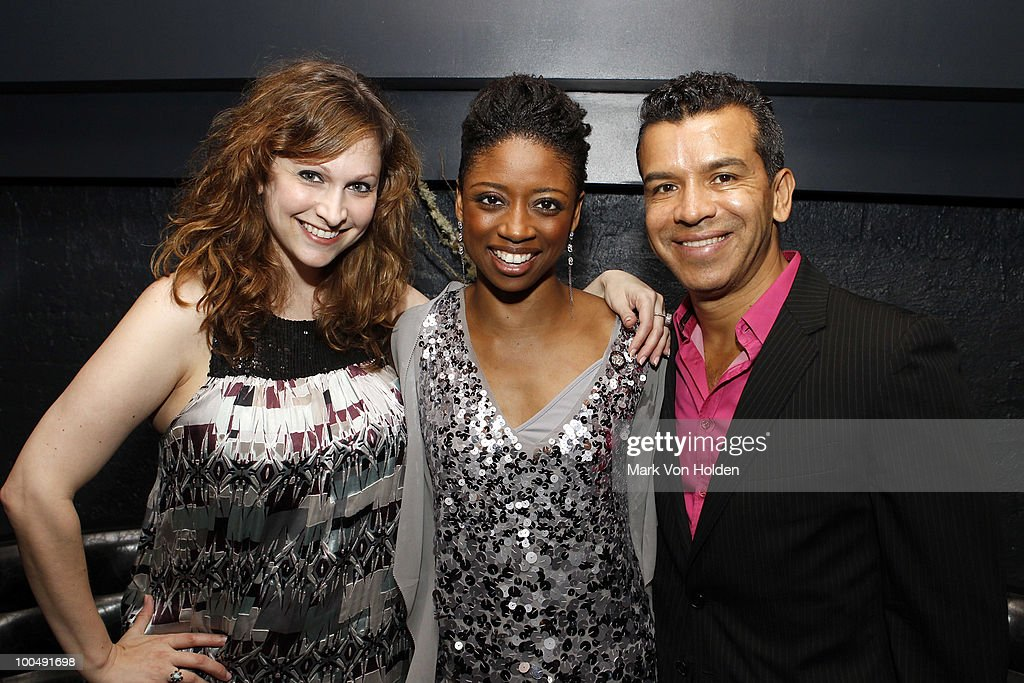 LSG public relation's Lisa Sharon Goldberg, actress Montego Glover, and Memphis choreographer Sergio Trujillo attend Everlon Diamond Knot Strength Of Love Dinner For Cast of Broadway's Memphis at Double Crown Restaurant on May 24, 2010 in New York City.
