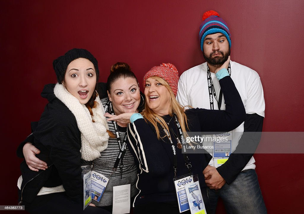 Public relations team Caylee Banz, Marisa Castagnola, Kim Dixon and Andrew Francis pose for a portrait during the 2014 Sundance Film Festival at the Getty Images Portrait Studio at the Village At The Lift Presented By McDonald's McCafe on January 22, 2014 in Park City, Utah.