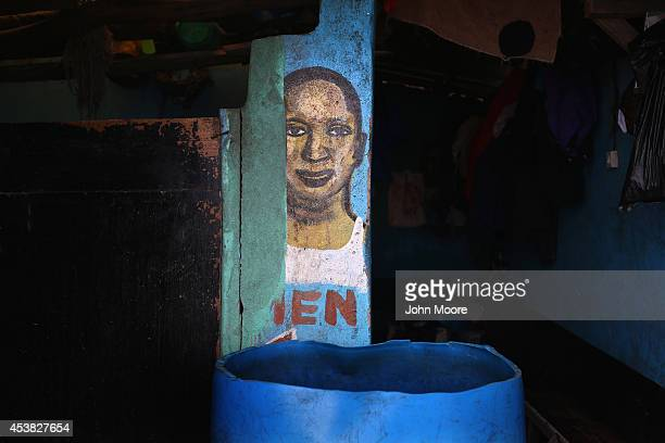 A public restroom awaits visitors on August 19 2014 in Monrovia Liberia With a population of 75000 people in a small area with poor sanitation...