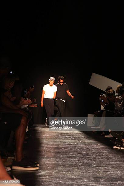 Public School coFounders/fashion designers DaoYi Chow and Maxwell Osborne attend the Public School Spring 2016 presentation at The Cunard Building on...