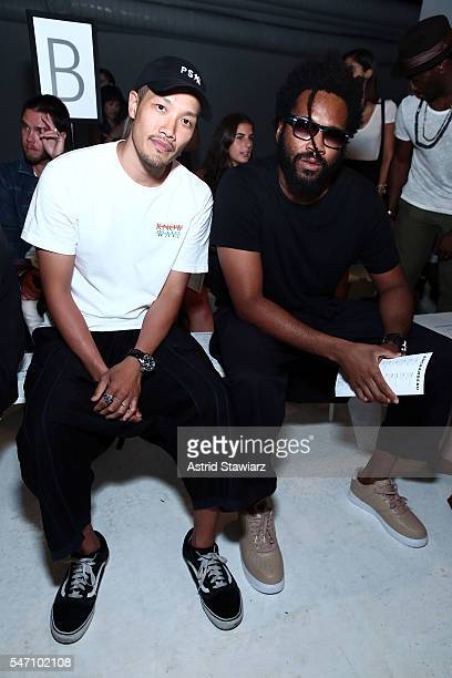 Public School designers DaoYi Chow and Maxwell Osborne attend Rochambeau Front Row New York Fashion Week Men's S/S 2017 at Skylight Clarkson Sq on...