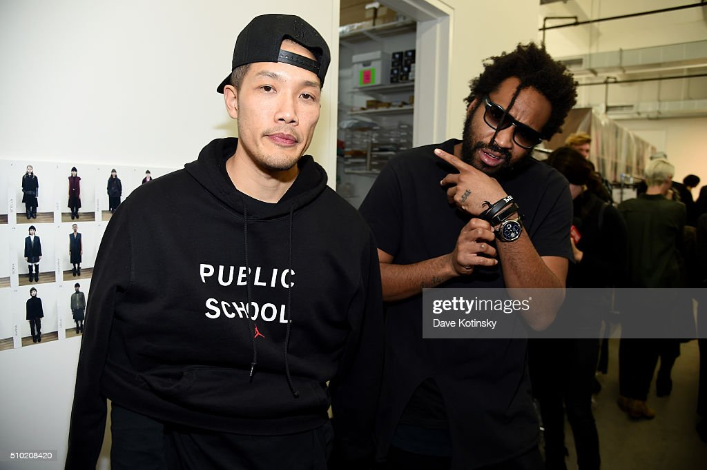 Public School Designers <a gi-track='captionPersonalityLinkClicked' href=/galleries/search?phrase=Dao-Yi+Chow&family=editorial&specificpeople=4606801 ng-click='$event.stopPropagation()'>Dao-Yi Chow</a> and <a gi-track='captionPersonalityLinkClicked' href=/galleries/search?phrase=Maxwell+Osborne&family=editorial&specificpeople=7793547 ng-click='$event.stopPropagation()'>Maxwell Osborne</a> backstage at Fitbit and PUBLIC SCHOOL Collaborate On Accessories Collection For Fitbit Alta on February 14, 2016 in New York City.