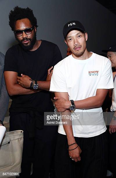 Public School designers Maxwell Osborne and DaoYi Chow attend Rochambeau Front Row New York Fashion Week Men's S/S 2017 at Skylight Clarkson Sq on...