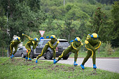 A public sculpture of speed skaters sits on a roadside outside the Medeo sports stadium in Almaty Kazakhstan on Saturday June 27 2015 Almaty with a...
