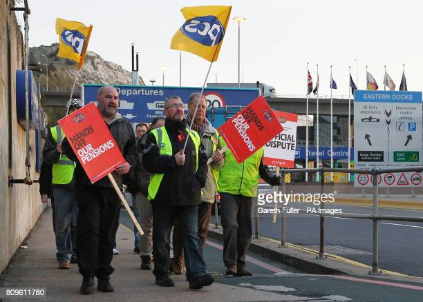 Public sector workers from the PCS Union on a picket line outside the Port of Dover in Kent