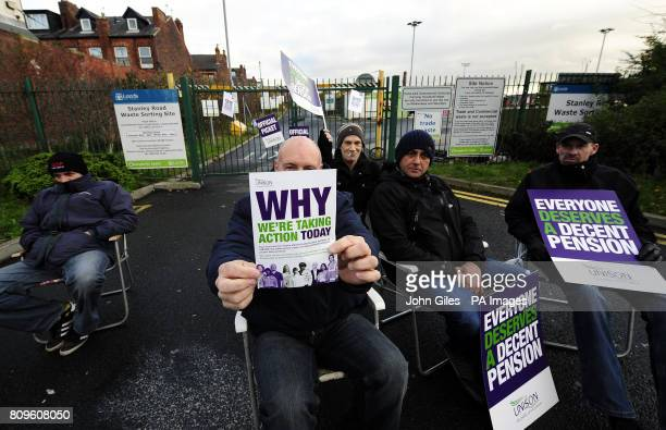 Public sector workers man a picket line outside the entrance to Stanley Road Waste Sorting Site in Leeds as workers went on general strike in a row...