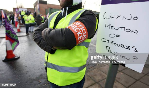 Public sector workers on a picket line outside Turnpike House in Salford Manchester