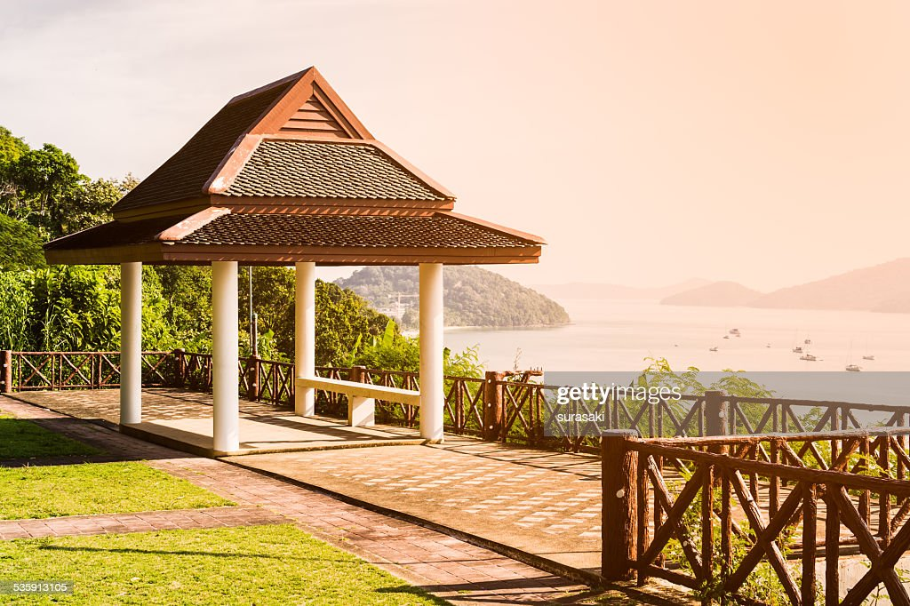 Public shelter at view point : Stock Photo