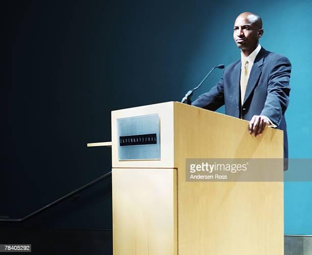 Public speaker at podium