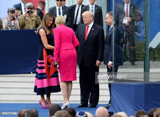 Public speech of the President of the United States of America Donald J Trump at the Warsaw Uprising Monument at Krasinski Square on July 06 2017 in...