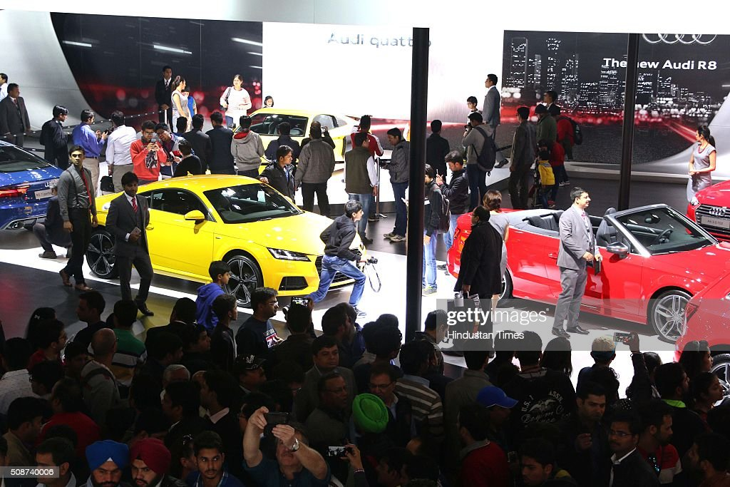 Public thronged at the Auto Expo 2016 on the second day for the general public, on February 6, 2016 in Greater Noida, India. The 13th edition of the Delhi Auto Expo kicked off at the India Expo Mart (IEM) in Greater Noida with brands from over 20 countries showcasing various cars, bikes and automobile trends. India, the worlds fifth biggest auto market, has an extremely low number of cars for its 1.2 billion people, with industry figures suggesting there are as few as 16 per 1,000 people