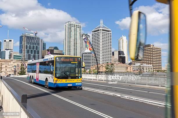 Public Transport Bus Crossing a Bridge in Brisbane, Australia