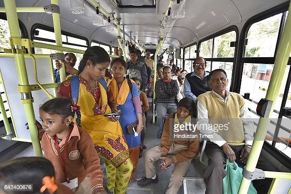 Public using newly cluster bus after 100 new cluster buses flagged off by Delhi Deputy Chief Minister Manish Sisodia at Delhi Secretariat on February...