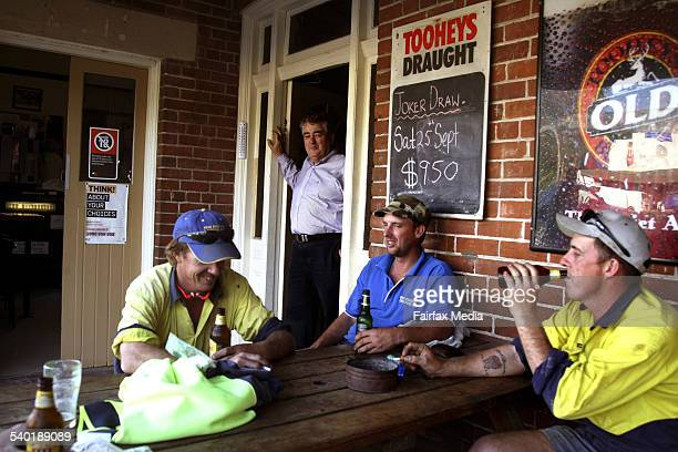 Publican Charles Hanna stands in the doorway of his pub Willow Tree Inn 75 kilometres south of Tamworth in country NSW Mr Hanna is spending his...