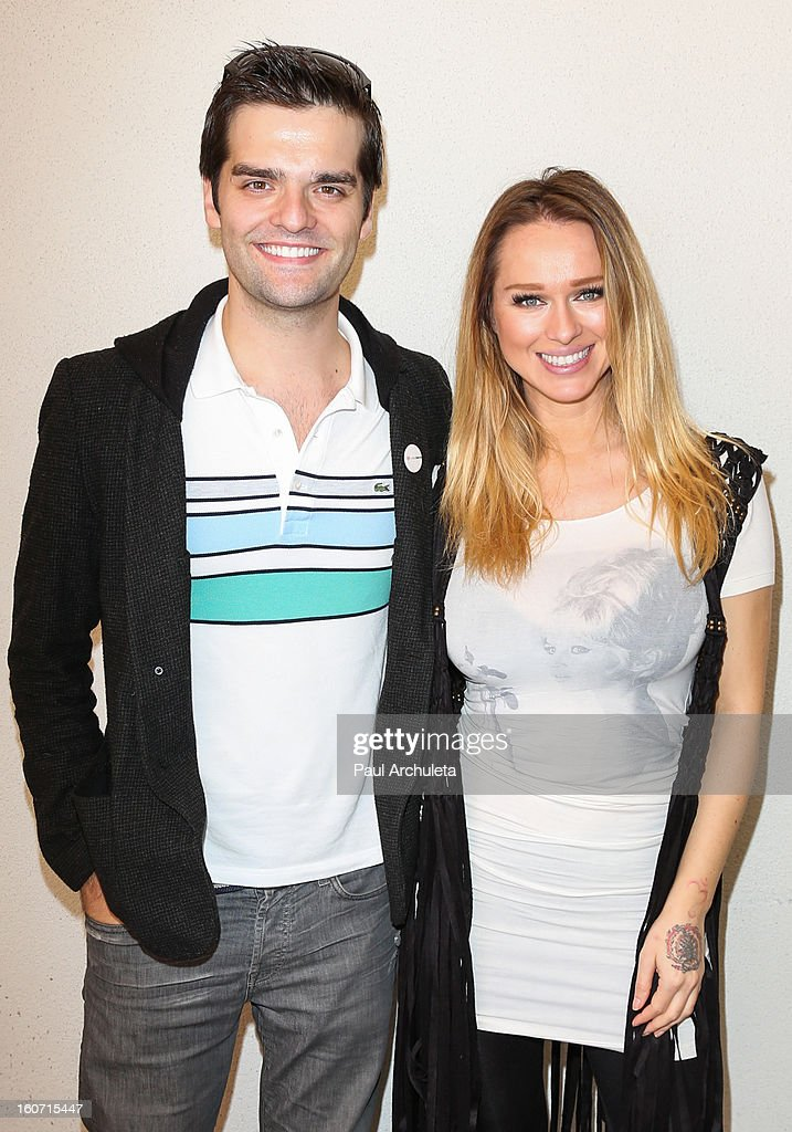 Publicist Ben Decker (L) and Model Katarina Van Derham (R) attend The Unlikely Heroes charity luncheon event in support of anti-human trafficking at the Veggie Grill on February 4, 2013 in Los Angeles, California.