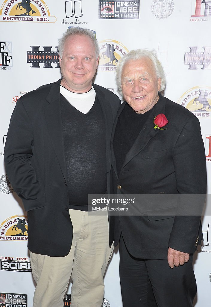 Publicist Gary Springer (L) and actor/voice of Boar's Head Joe Sirola attends the opening night party for the 2013 First Time Fest at The Players Club on March 1, 2013 in New York City.