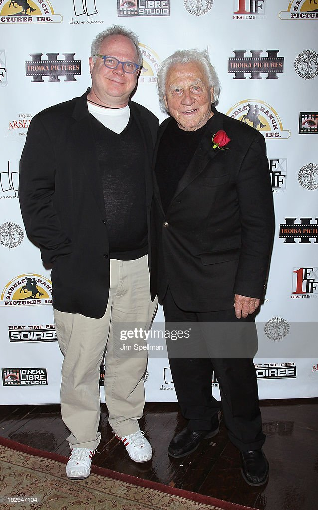 Publicist Gary Springer (L) and actor/voice of Boar's Head Joe Sirola attend the opening night party for the 2013 First Time Fest at The Players Club on March 1, 2013 in New York City.