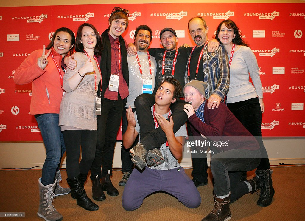 Publicist Hilda Somarriba, filmmaker Laura Petersen, composer Grayson Gilmour, director Louis Sutherland, director Mark Albiston, actorJacek Koman and publicist Amanda Sinele and (Bottom L-R) actors Kevin Paulo and Byron Coll attend the 'Shopping' premiere at Egyptian Theatre during the 2013 Sundance Film Festival on January 18, 2013 in Park City, Utah.