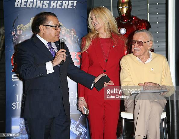 Publicist Jerry Olivarez JC Lee and comic book icon Stan Lee speak at Marvel Avengers STATION at the Treasure Island Hotel Casino on November 18 2016...