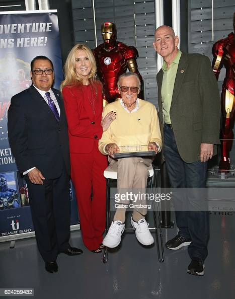 Publicist Jerry Olivarez JC Lee comic book icon Stan Lee and Clark County Commissioner Larry Brown pose at Marvel Avengers STATION at the Treasure...