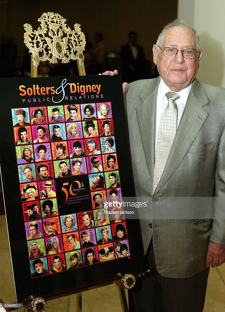 Publicist Lee Solters, with his speical 50th anniversary poster at the VIP luncheon to celebrate the 50th Anniversary of Solters & Digney Public Relations, and its founder Lee Solters, held on May 19, 2004 at the Beverly Hilton Hotel in Beverly Hills, California.