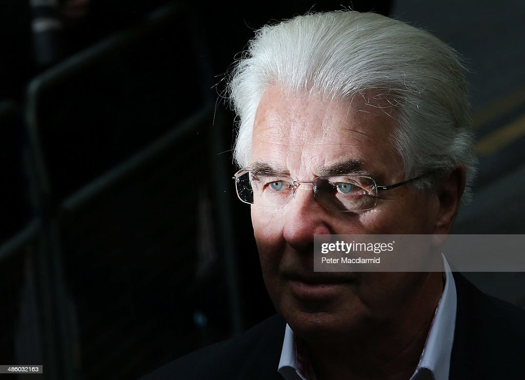 Publicist Max Clifford arrives at Southwark Crown Court on April 22 2014 in London England The jury has retired to consider the 11 charges of...