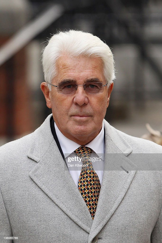 Publicist Max Clifford arrives at the High Court to give evidence to the Leveson Inquiry on February 9 2012 in London England The inquiry is being...