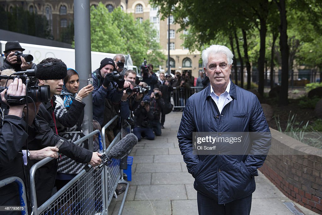 Publicist Max Clifford arrives to be sentenced at Southwark Crown Court on May 2, 2014 in London, England. Mr Clifford has been found guilty of eight indecent assaults on women and girls as young as 15 by a jury at Southwark Crown Court.