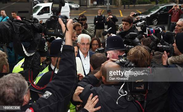Publicist Max Clifford is mobbed by the press as he arrives at Westminster Magistrates court on May 28 2013 in London England Max Clifford is...