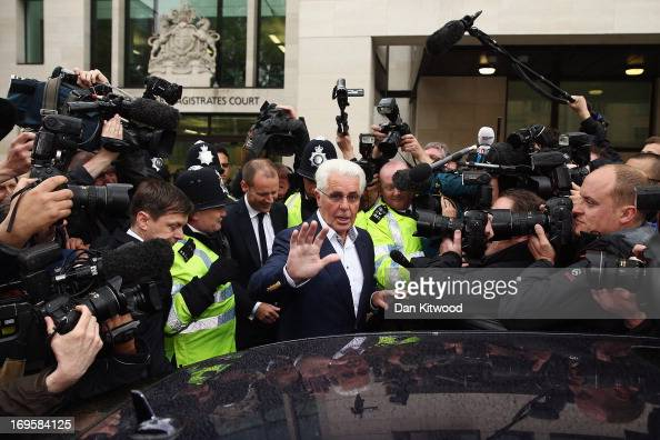 Publicist Max Clifford is surrounded by the press as he leaves Westminster Magistrates court on May 28 2013 in London England Max Clifford is...