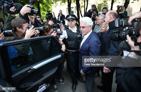 Publicist Max Clifford leaves Southwark Crown Court on April 28 2014 in London England Max Clifford has been found guilty of eight counts of indecent...