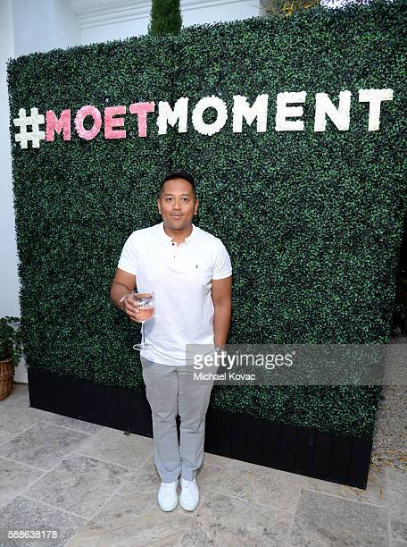 Publicist Rembrandt Flores celebrates the Los Angeles launch of Moet Ice Imperial Rose at the Riviera White House on August 11 2016 in Pacific...