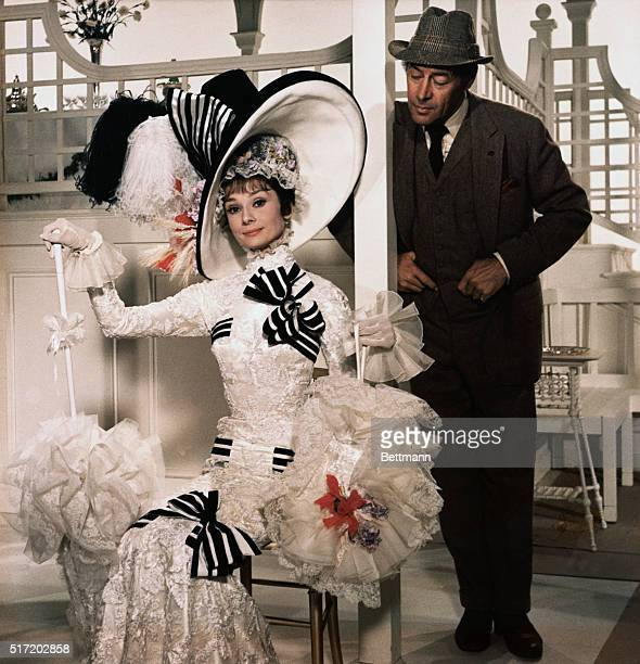 Publicity handout from the 1964 film My Fair Lady directed by George Cukor starring Audrey Hepburn as Eliza Doolittle and Rex Harrison as Professor...