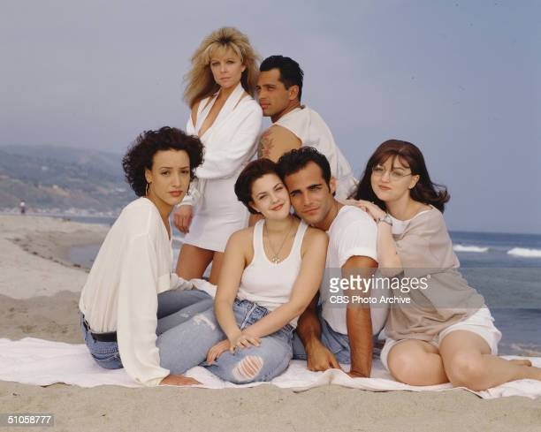 Publicity photo of the cast of the CBS television drama '2000 Malibu Road' featuring left to right front row Jennifer Beals Drew Barrymore Brian...