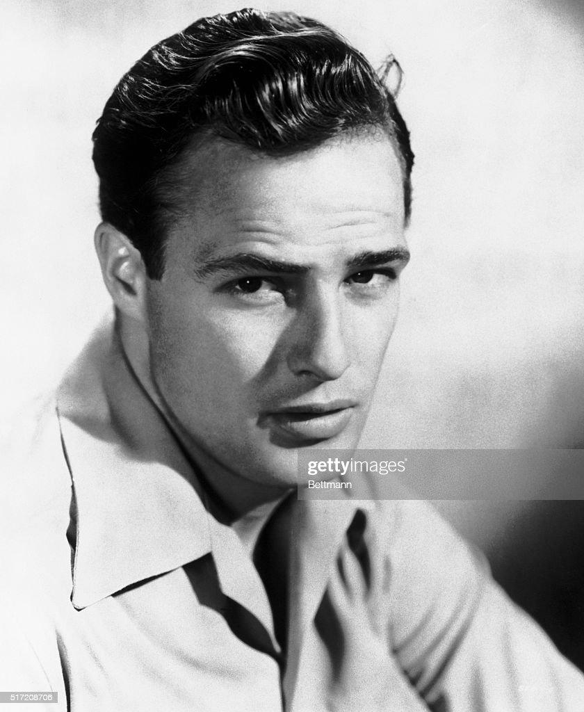 Publicity portrait of actor Marlon Brando, looking soulful. Undated publicity handout, circa 1948.