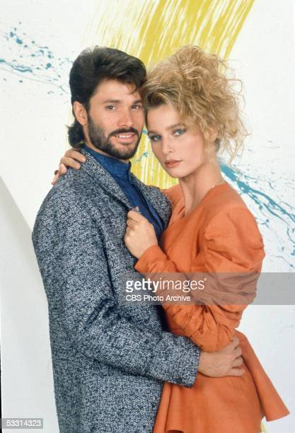 Publicity portrait of American actor Peter Reckell and Britishborn actress Nicollette Sheridan for the TV soap opera series 'Knots Landing' 1987