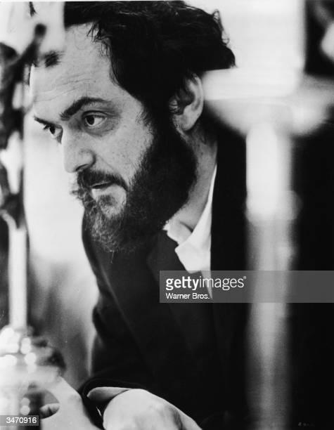 Publicity portrait of Americanborn film director Stanley Kubrick as he works on the set of his film 'A Clockwork Orange' England