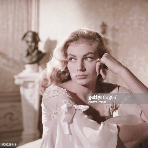 A publicity still of Swedish actress Anita Ekberg as Helene Kuragina on the set of the film 'War and Peace' 1956 The film is set during the...