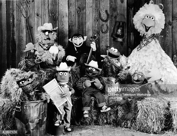 Publicity still of the Sesame Street Muppets taken to promote their record album 'Sesame Country' July 1 1981 Included are Oscar the Crouch Bert...