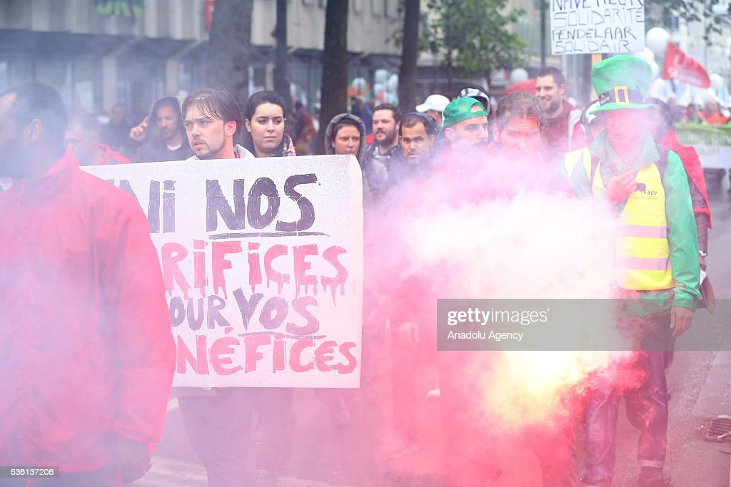 Public-sector workers march as they strike to protest the austerity measures approved by the Belgian government, including an increase in the retirement age, in Brussels, Belgium on May 31, 2016.