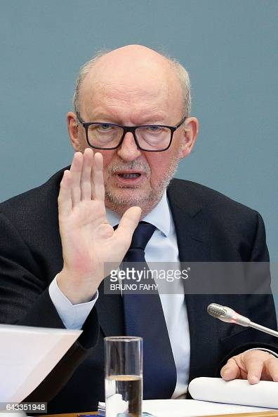 Publifin administrator Georges Pire and politician of MR party speaks during a session of the Publifin inquiry commission at the Wallonia Parliament...