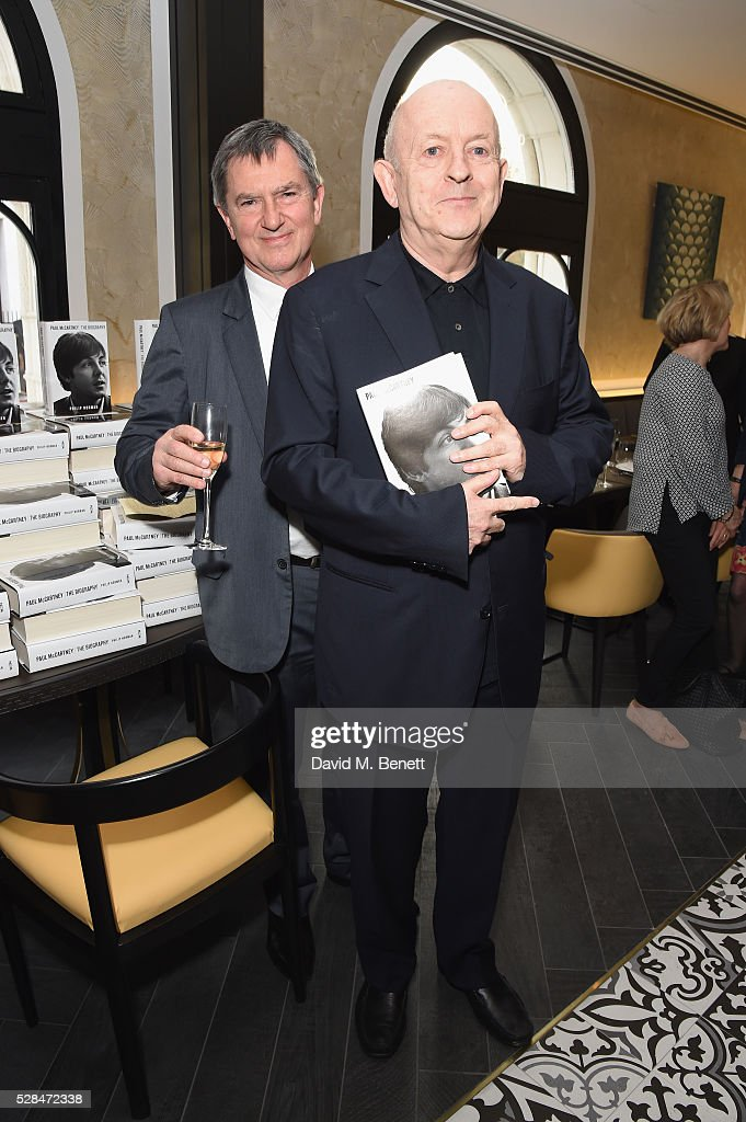 Publisher Alan Samson and Author Philip Norman attend the 'Paul McCartney: The Biography' by Philip Norman launch at Osteria 60 with Ferrari Trento wines at Baglioni Hotel on May 5, 2016 in London, England.